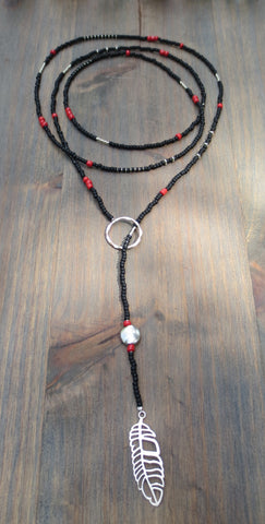 "Beaded Lariat Necklace 50-52"" Lea"