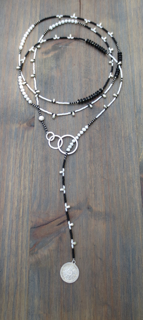 "Beaded Lariat  Necklace 50-52"" Amala"