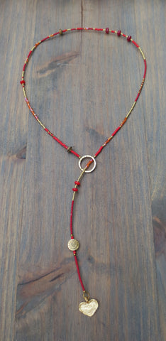 "Beaded Lariat Necklace 20-24"" Christie"