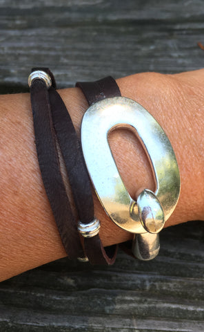 Leather Wrap Bracelet with buckle clasp Chocolate