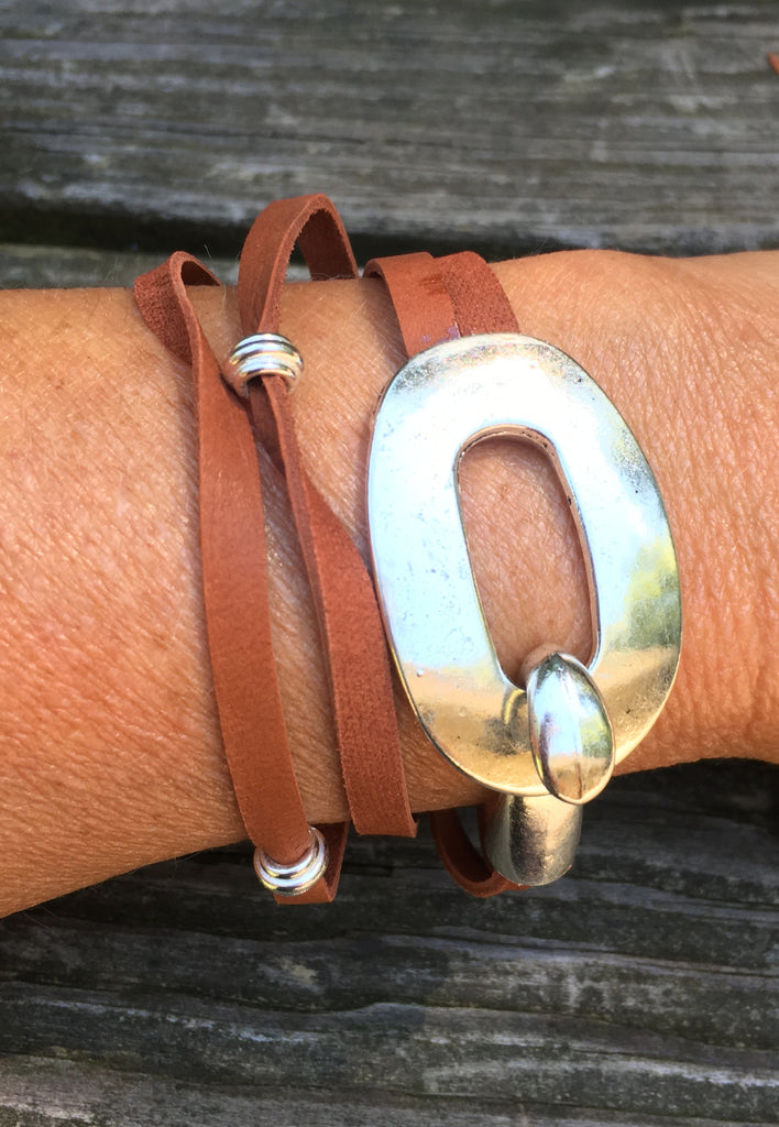 Leather Wrap Bracelet with buckle clasp Rusty brown