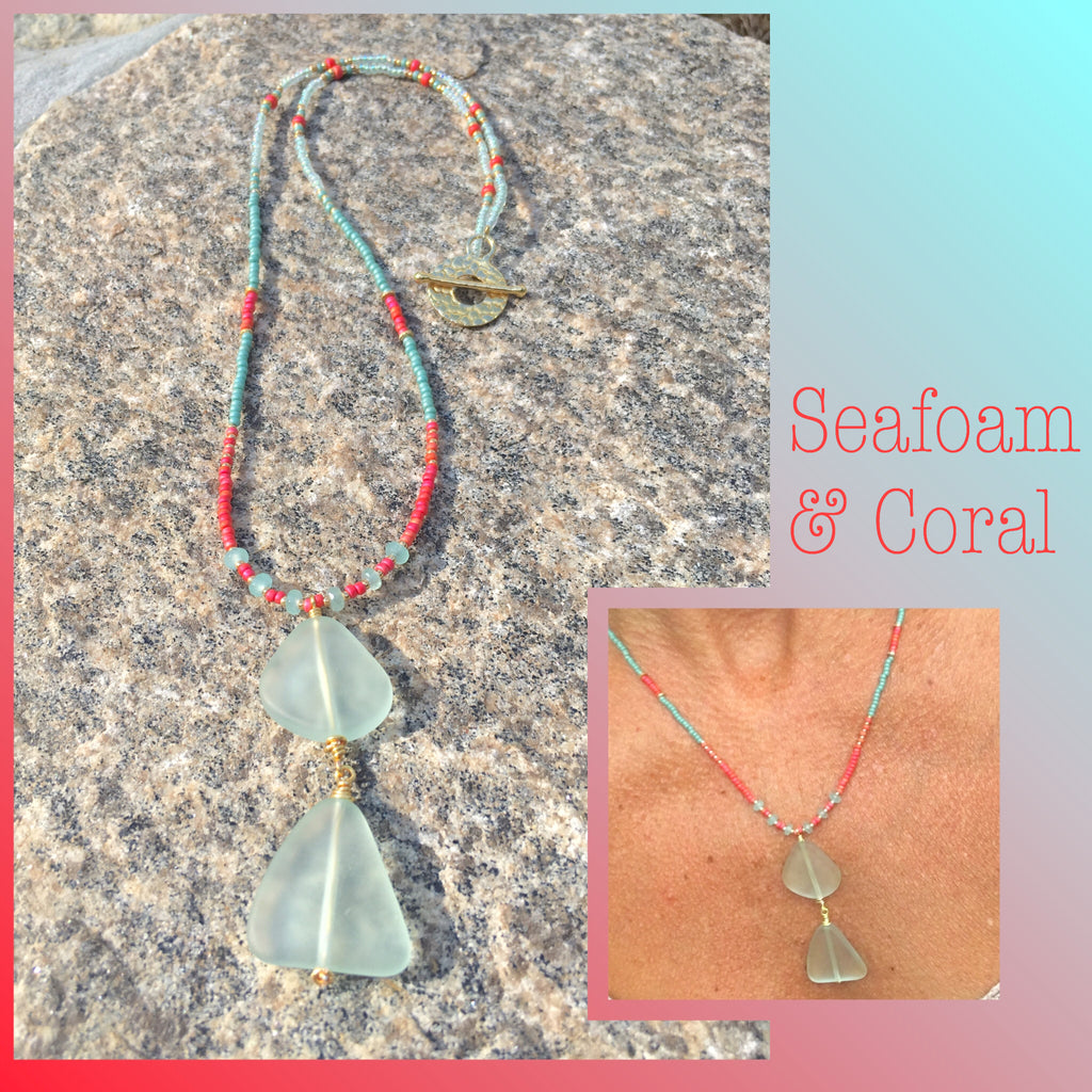 Beaded Sea glass pendant Necklace Lea
