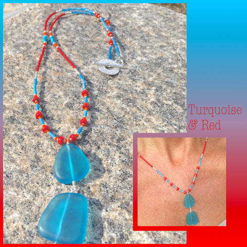 Beaded Sea glass pendant Necklace Kathy