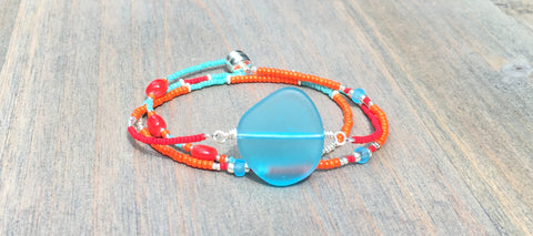 Sea glass Wrap bracelet/Necklace