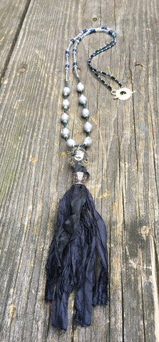 Beaded Necklace Midnight Blue