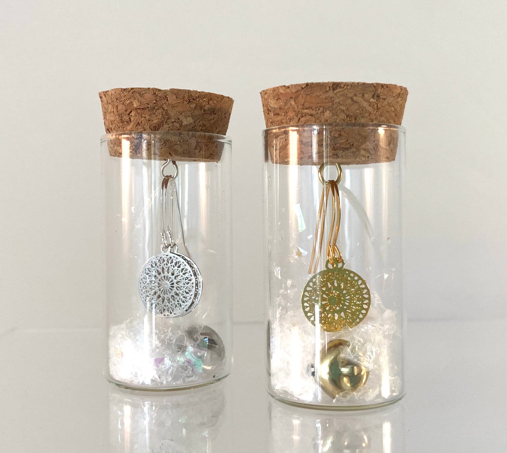Mandala earrings in a bottle