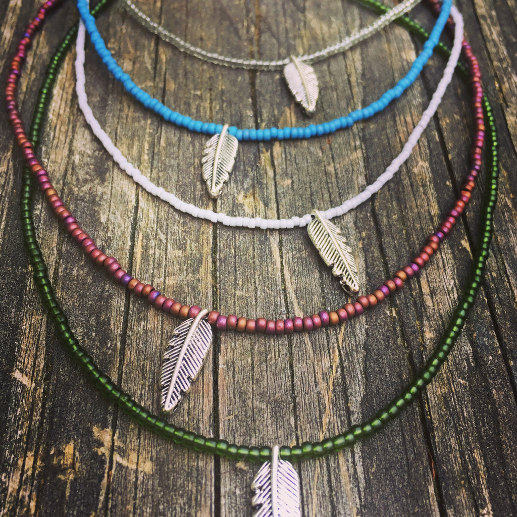 Beaded Choker Necklace Feather