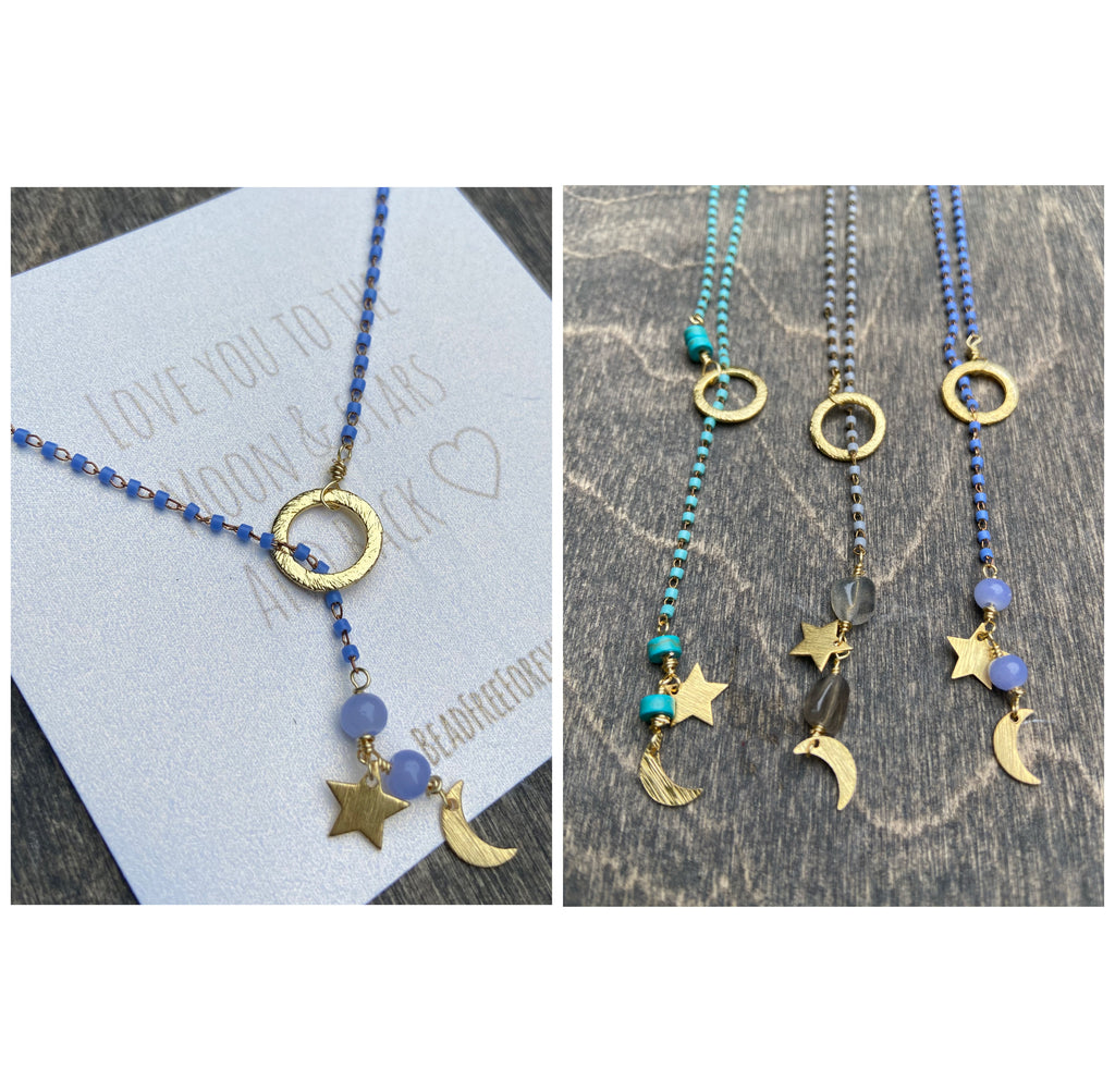 'Love you to the moon & stars' Lariat Necklace