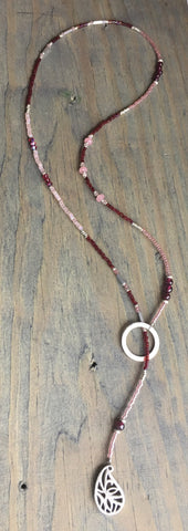 Beaded Lariat Necklace Garnet 20-24""