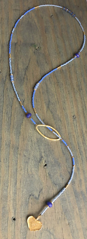 Beaded Lariat Necklace Serenity 20-24""