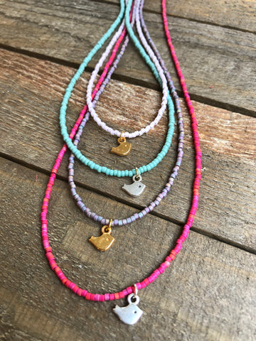 Beaded Necklace 'Little Birdie'