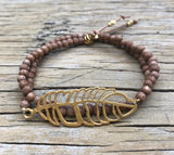 Wood beaded wrap bracelet 'feather'