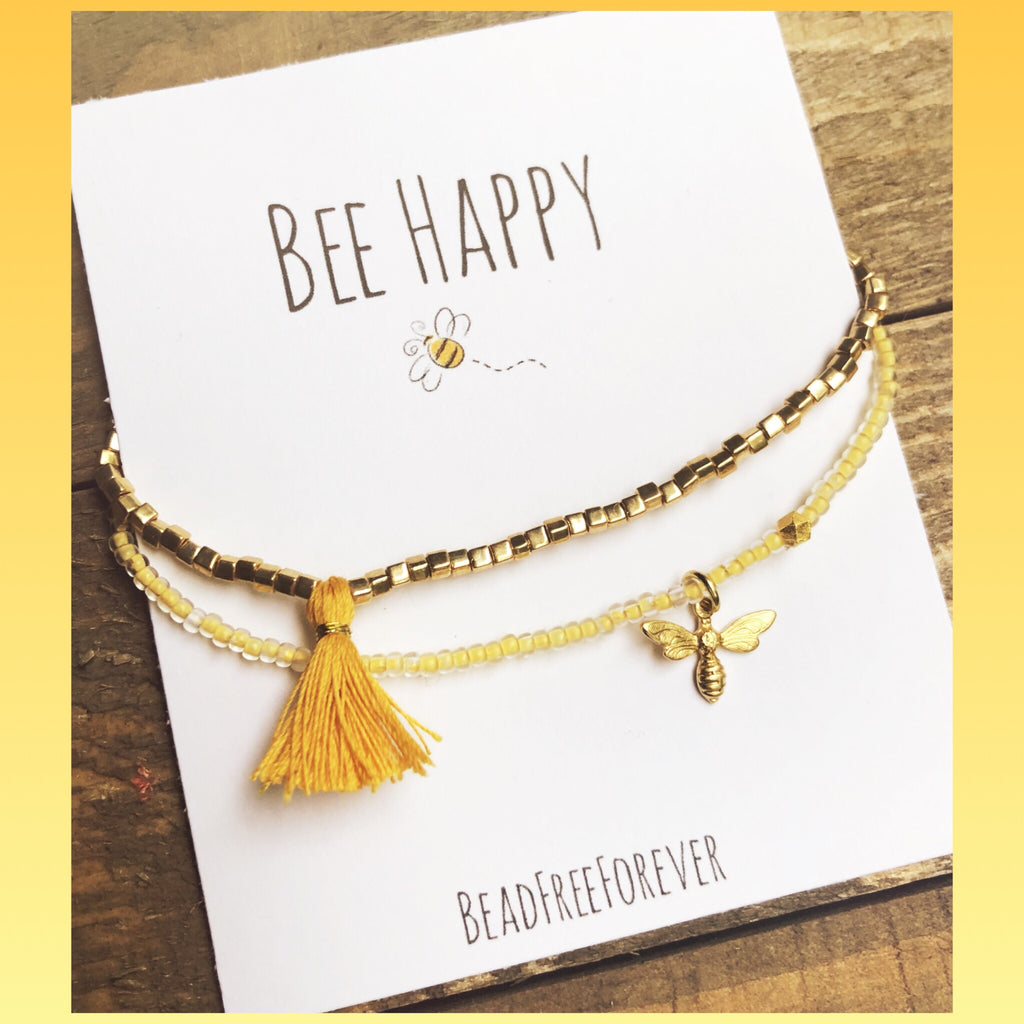 'Bee Happy' bracelets