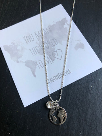 Necklace 'You mean the world to me'