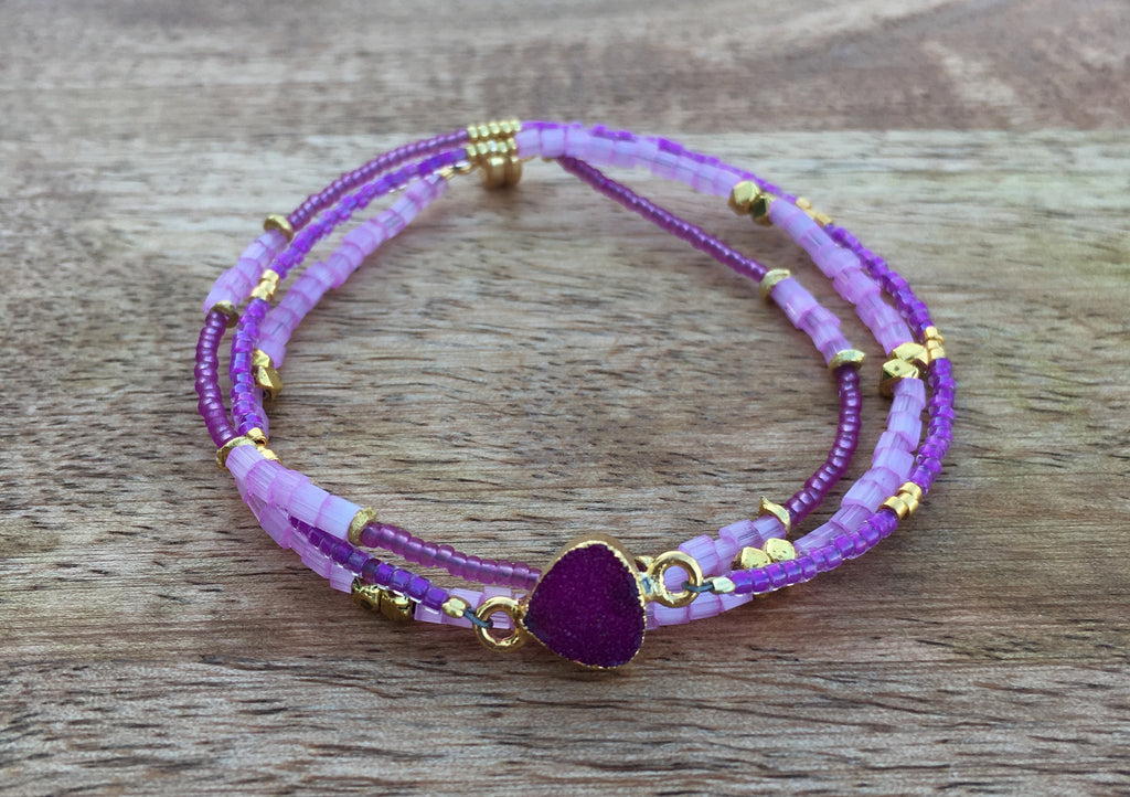 Wrap bracelet/Necklace Druzy