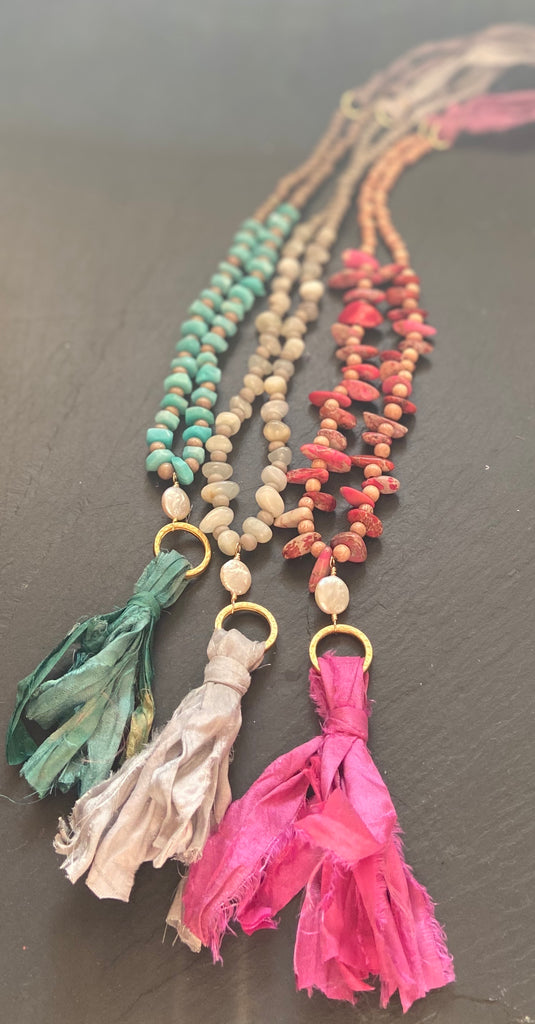 Boho Silk Tassel Necklace