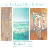 "Beaded Lariat Necklace 50-52"" Aqua"