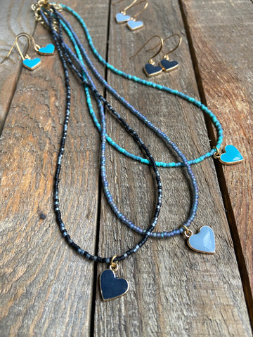 Enamel Heart Beaded Necklace