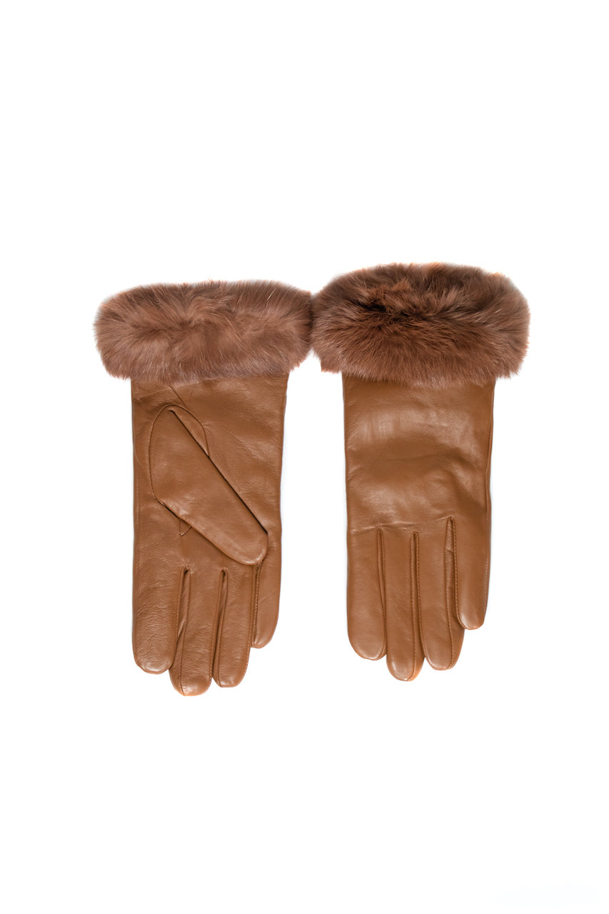 Women Rabbit Fur Gloves | Tan