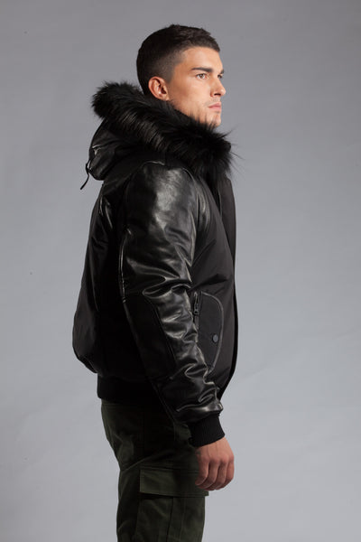 Victor Black Fur | Leather Sleeves
