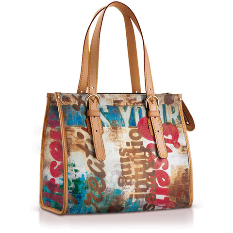 """Linda"" Mid Size Tote With Adjustable Straps"