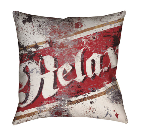 """Relax"" Outdoor Throw Pillow"