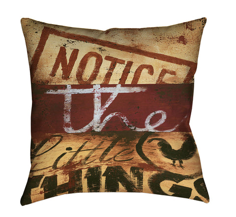 """Notice The Little Things"" Outdoor Throw Pillow"