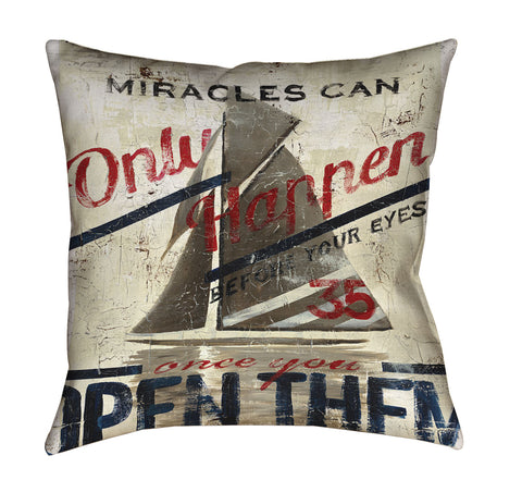 """Miracles"" Outdoor Throw Pillow"