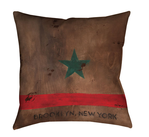 """Brooklyn STAR"" Outdoor Throw Pillow"