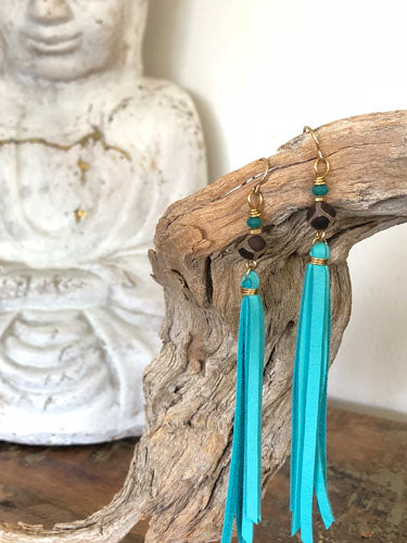 Turquoise LOVE Tassel Earrings