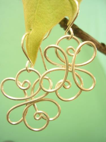 Flowery pretty sterling wire earrings