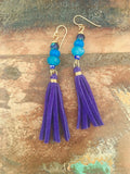 Blue Suede Tassle Earrings
