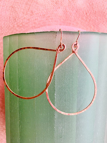 Rose Gold Teardrop Hoops