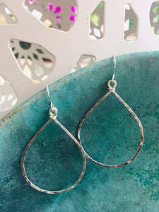 Sterling Teardrop Hoops