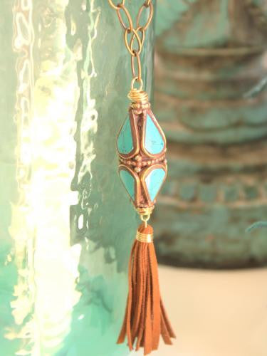 Ocean Allure Necklace - bicone of brass inlaid with turquoise