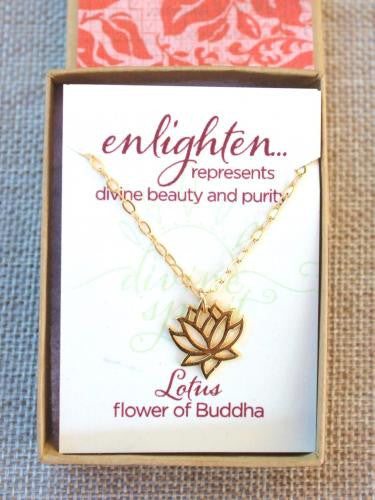 Gold Tiny Open Lotus Necklace