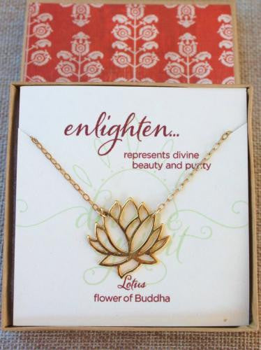 Gold Open Lotus Necklace