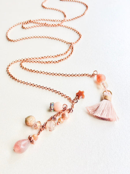 Blush Rose Charm Lariat