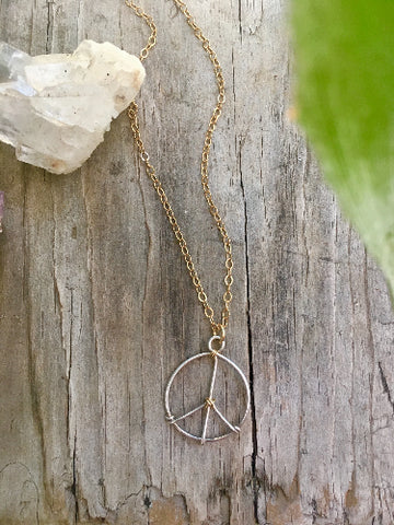 Mixed Metal Peace Necklace