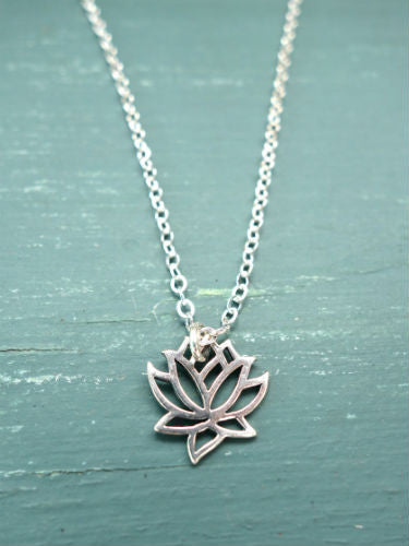 Small silver lotus necklace