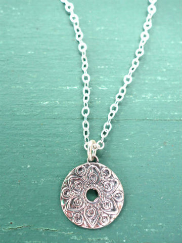 Small silver mandala necklace
