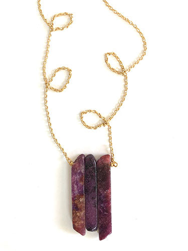 Lepidolite Block Necklace
