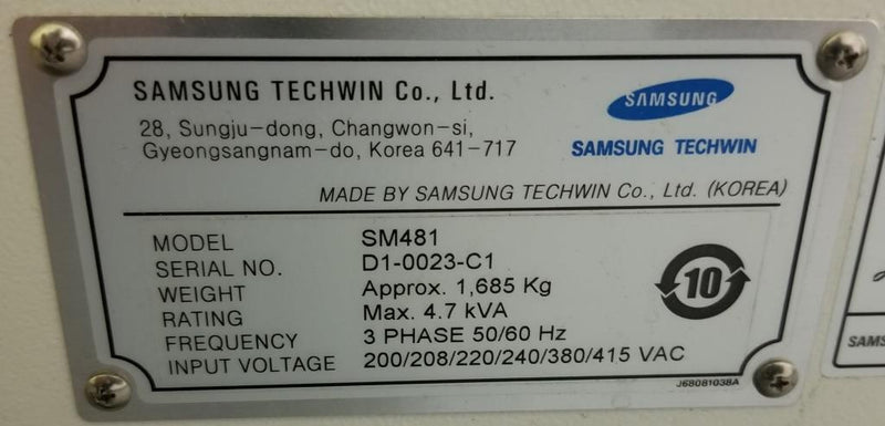 Samsung Hanwha SM481 10 head 38K CPH High speed pick and place 2014