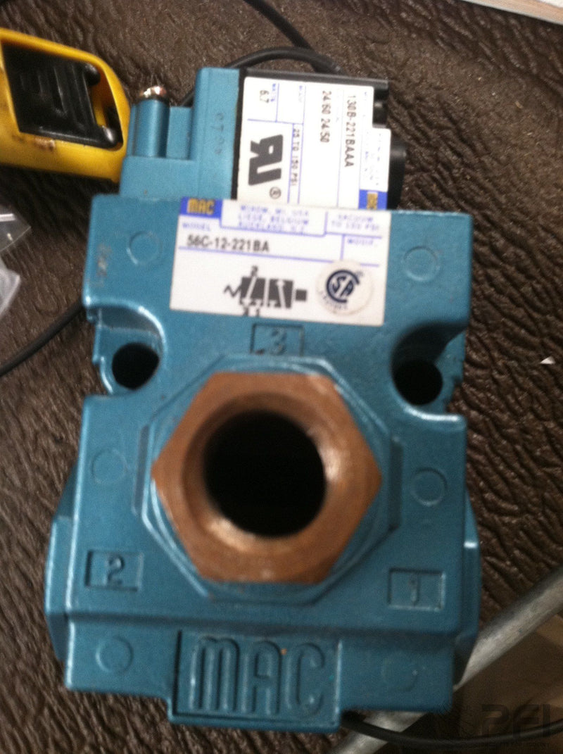 MAC VALVE 56C-12-221BA with ELECTRICAL ADAPTER UIC