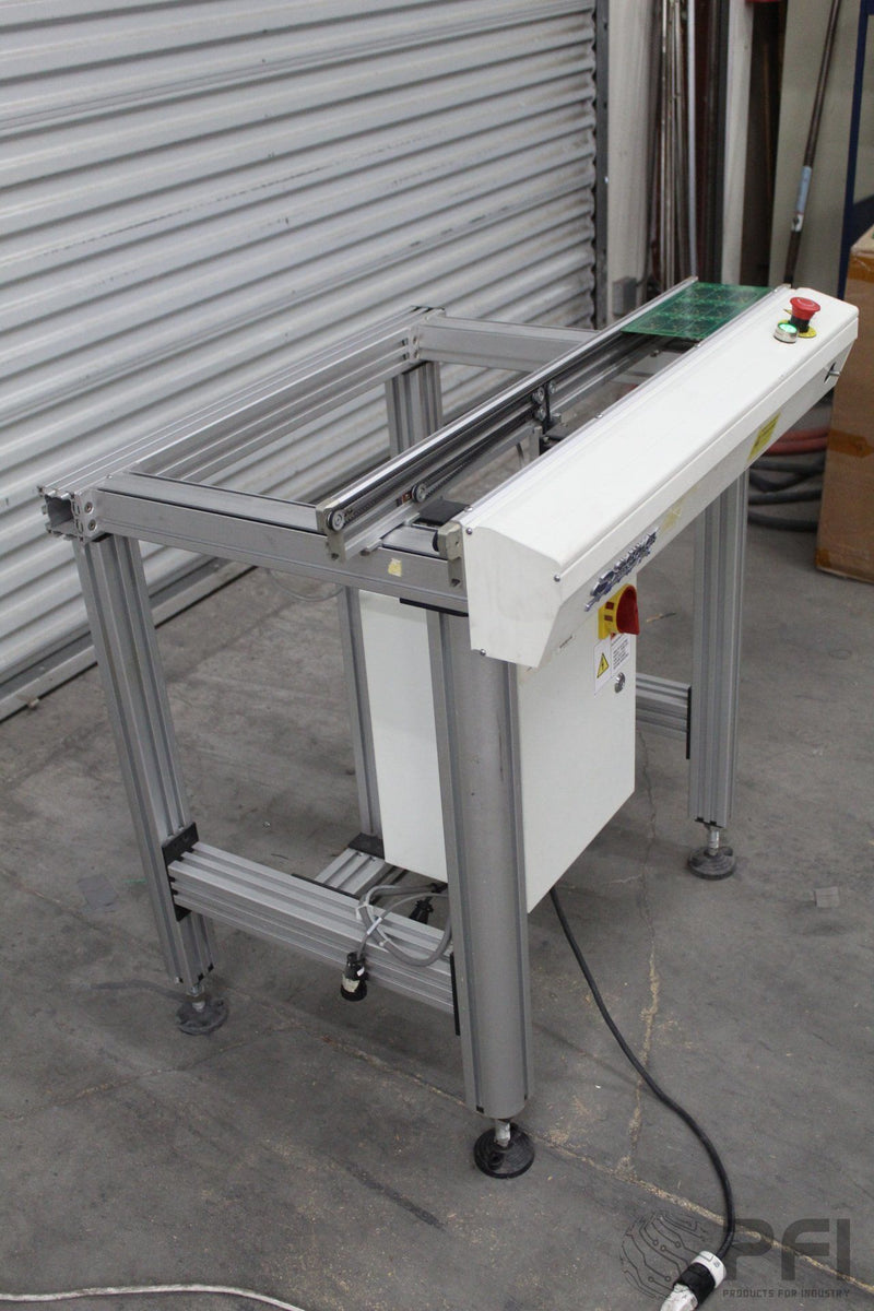 Simplimatic 2170 1M transfer conveyor, Smema, edge belt