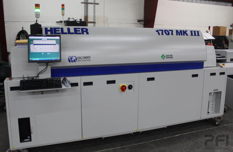 Heller 1707MKIII 2012  7 zone lead free reflow, N2, 480V, Edge/Mesh only 990 hours!