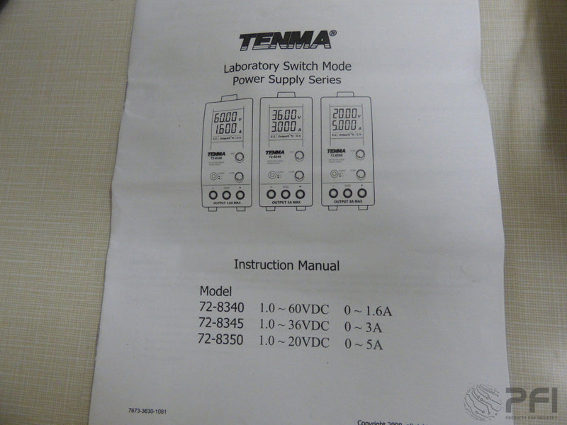 TENMA Switching Mode Power Supply 72-8350 1.0 - 20VDC 0 - 5A