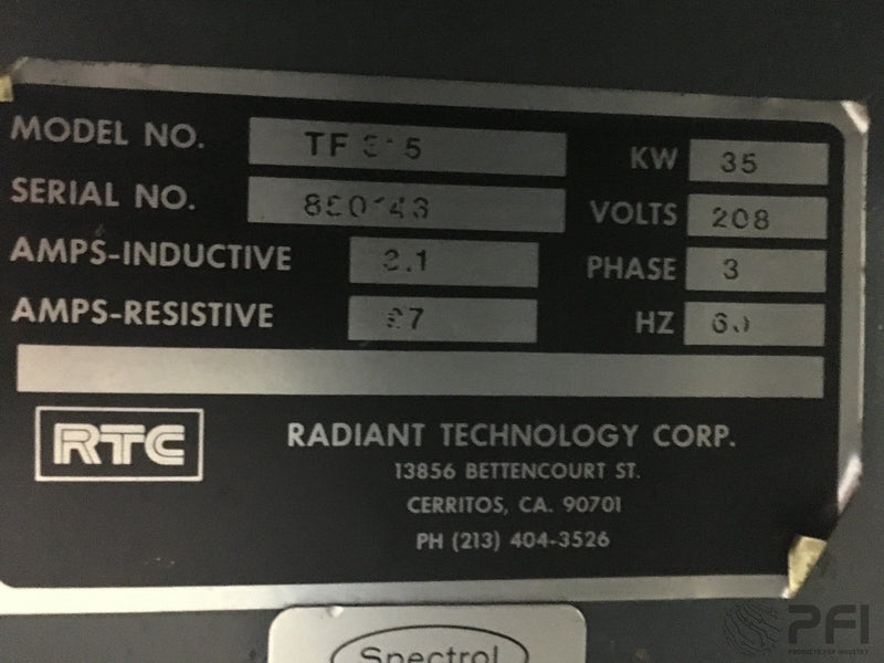 RTC Radiant Technology Corp TF 315 TF315 NOBLE METAL HYBRID THICK FILM FIRING FURNACE