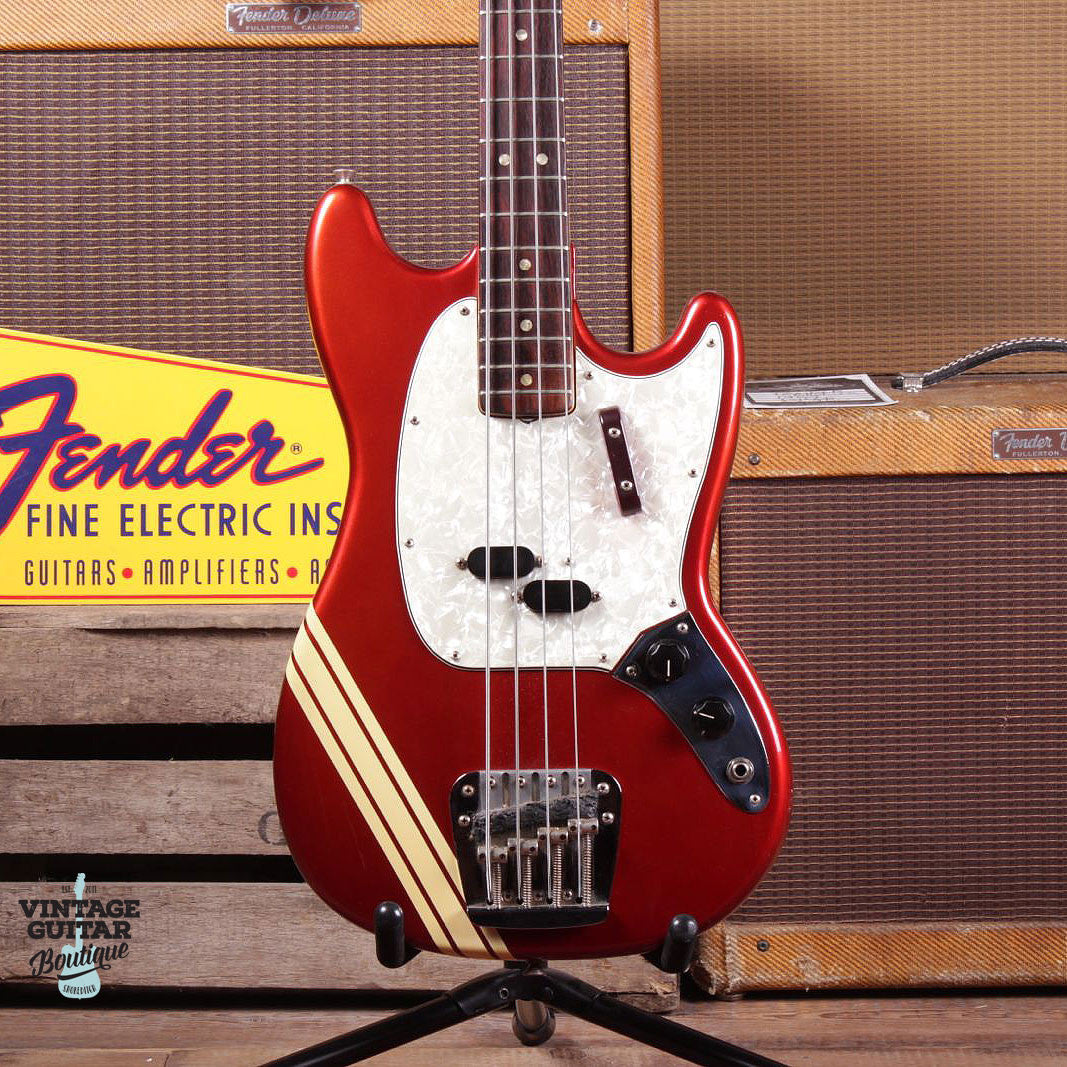 1973 Fender Mustang Bass - Comp Stripe - Candy Apple Red - Vintage Guitar Boutique - 4