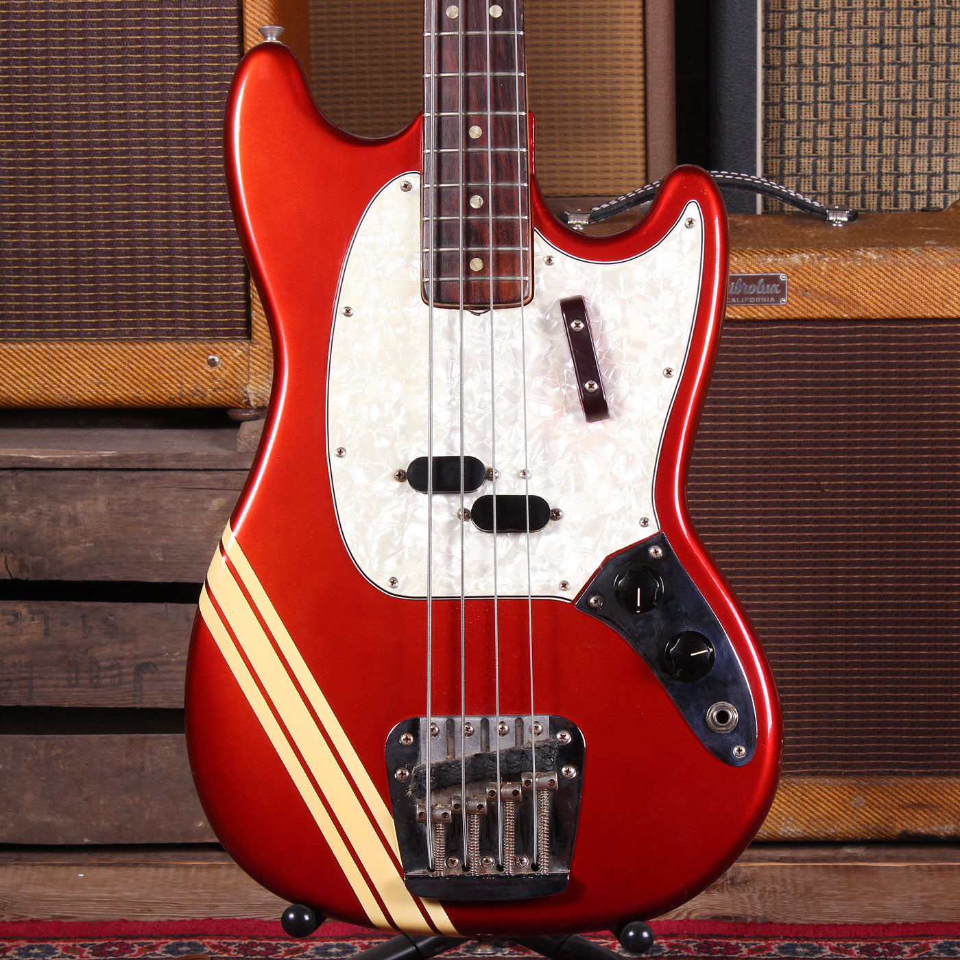 1973 Fender Mustang Bass - Comp Stripe - Candy Apple Red - Vintage Guitar Boutique - 3